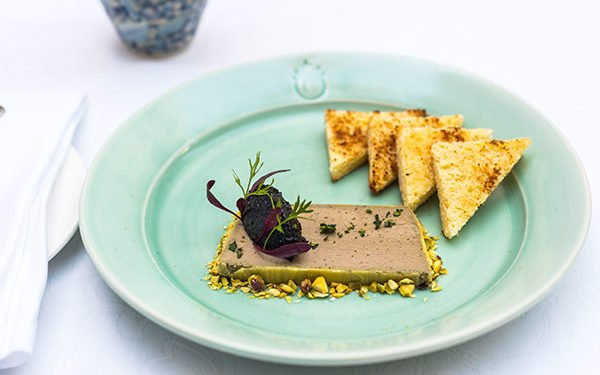 Helena's Restaurant Stellenbosch at Coopmanhuijs Boutique Hotel and Spa Duck liver pâté with pistachio nuts, toasted brioche & black olive jam